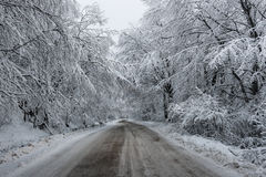 Cold Road. Just a hard for travel road in the winter stock photos