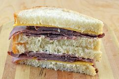 Cold Roast Beef And Cheddar Sandwich Stock Image