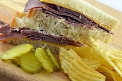 Cold Roast Beef Sandwich Meal With Potato Chips Stock Images