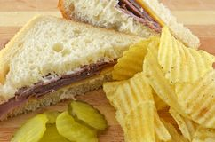 Cold Roast Beef Sandwich Meal With Potato Chips Royalty Free Stock Photo