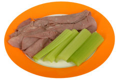 Cold Roasted Beef Slices with Celery Salad Royalty Free Stock Photos