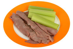 Cold Roasted Beef Slices with Celery Salad Stock Image