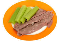 Cold Roasted Beef Slices with Celery Salad Royalty Free Stock Image