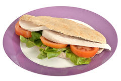 Cold Roasted Chicken Salad Pitta Bread on a plate Royalty Free Stock Photography