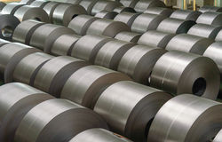 Cold rolled steel coil at storage area in steel industry Stock Photos