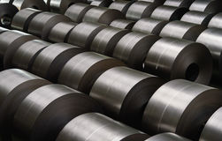Cold rolled steel coil at storage area in steel industry Stock Image