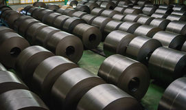 Cold rolled steel coil at storage area in steel industry Stock Photography