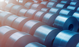 Cold rolled steel coil at storage area in steel industry plant. Stock Image