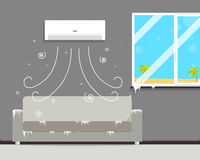 Cold room with air conditioning. Air conditioning in the room creates a winter though outside the summer. Vector illustration Stock Photo