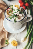 Cold russian soup with fresh vegetables, eggs and meat Royalty Free Stock Images