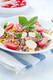 Cold salad of farro with mozzarella , tomato Stock Image