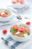 Cold salad of farro with mozzarella , tomato and tuna italy Royalty Free Stock Images