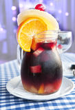 Cold sangria in the glass jug with condensate Royalty Free Stock Image