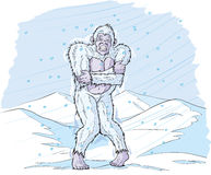 Cold Sasquatch. Even the Yeti thinks it's too cold Stock Photos