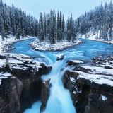 Cold scenery at Sunwapta Falls in the Canadian Rockies with snow and fir trees in wonderful scenery and ice and blue rivers. stock photos