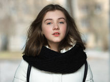 Cold season young adorable woman close up portrait lifestyle concept Stock Photo