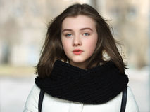 Cold season young calm beautiful woman close up portrait lifestyle concept Royalty Free Stock Images