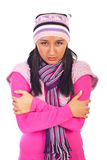 Cold shivering young woman Royalty Free Stock Photography
