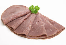Cold Sliced Roast Beef Meat Isolated royalty free stock photos