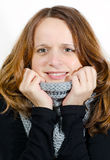 Cold smiling beauty Royalty Free Stock Photos