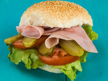Cold Smoked Cooked Ham Salad Sesame Seed Bread Roll or Bun Sandwich Stock Photography