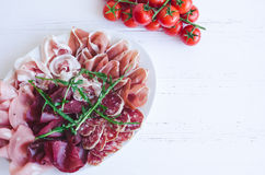 Cold smoked meat plate Royalty Free Stock Photo