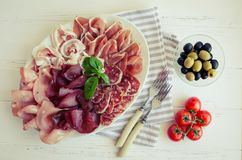 Cold smoked meat plate royalty free stock images