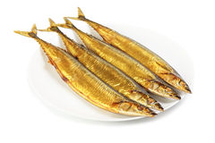 Cold smoked saury on plate Royalty Free Stock Photos