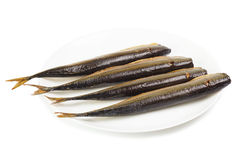 Cold smoked saury on plate Royalty Free Stock Photo