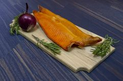 Cold-smoked trout fish stock photo