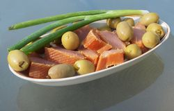 Cold smoked tuna appetizer Stock Images