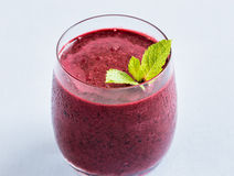 Cold smoothie with blueberries Royalty Free Stock Photo