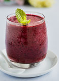 Cold smoothie with blueberries Royalty Free Stock Photos