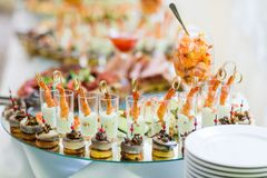 Cold snacks on banquet table Stock Image