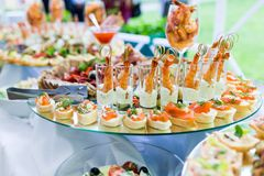 Cold snacks on banquet table Stock Photography