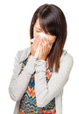 Cold sneezing asian woman Royalty Free Stock Photo