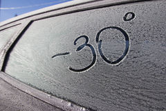 Cold with snow. Flakes on car Stock Photos