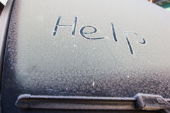 Cold with snow. Flakes on car Stock Image