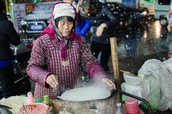 On a cold snow day, a pancake hawker is made