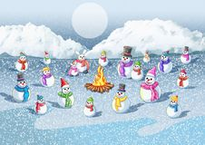 Cold snow The fire gives warmth to the snow vector illustration