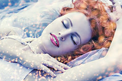 Cold snow queen. Romantic portrait of redhair woman like cold snow queen Stock Photos