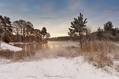 Cold snowy morning on the lake. Late autumn. Trees on lakeside stock photos