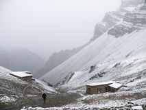 Cold snowy weather in Thorong High Camp, Nepal Stock Images