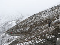Cold snowy weather on way to Thorong La Pass, Nepal Royalty Free Stock Photo