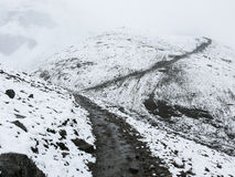 Cold snowy weather on way to Thorong La Pass, Nepal Royalty Free Stock Images