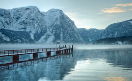 Cold and snowy winter in mountain Austria. Image of cold and snowy winter in Austria. Beautiful mountain and nature at Hallstatt near Obertraun city opposite the stock photos