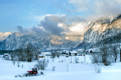 Cold and snowy winter in mountain Austria Stock Images