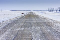 Cold Snowy Winter Road Royalty Free Stock Photos
