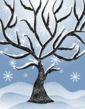 Cold Snowy Winter Tree Scene 2. A background illustration featuring a cold, snowy winter scene with sloping banks of snow and dead tree covered in snow Royalty Free Stock Images