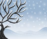 Cold Snowy Winter Tree Scene. A background illustration featuring a cold, snowy winter scene with sloping banks of snow and dead tree Royalty Free Stock Images